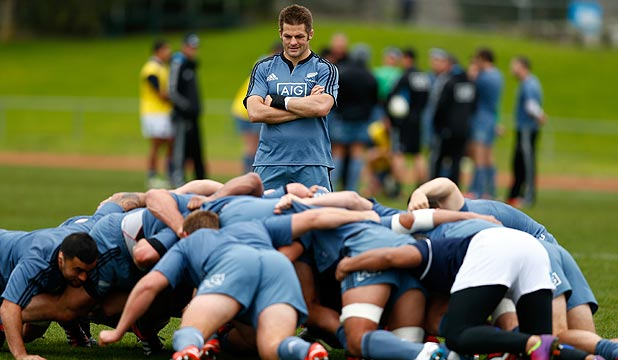 MUSCLING UP: Skipper Richie McCaw looks on as a scrum is packed down at training this week. The All Blacks forwards plan to up the ante at Eden Park tonight.