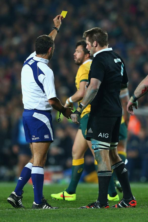 Richie McCaw is awarded a yellow card for a cynical play early in the first half of the Eden Park test against the Wallabies.