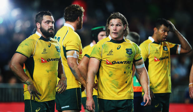 NO WORDS: Captain Michael Hooper attempts to lift his team during their 51-20 thrashing at the hands of the All Blacks.