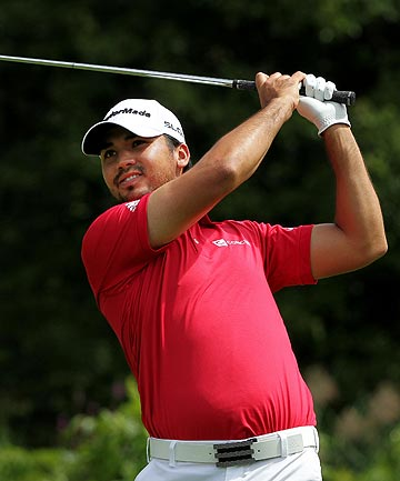 ON FORM: Australian Jason Day plays his shot from the fifth tee during the third round of The Barclays. He is the joint leader with American Jim Furyk.