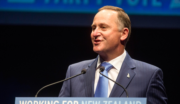 THEIR MAIN MAN: John Key addresses the National Party faithful at its election campaign launch in Auckland.