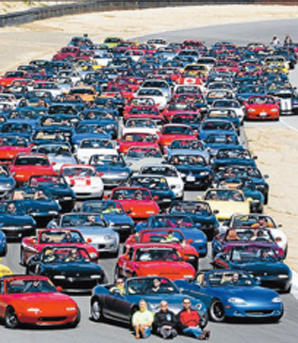 ON TRACK: In 2009, Rick Weldon organised an event involving 300 MX-5s, but is aiming for more than 1600 next month.