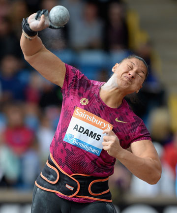 SUPER SHOT: Valerie Adams charged to her 55th consecutive shot put victory in Birmingham on Monday.