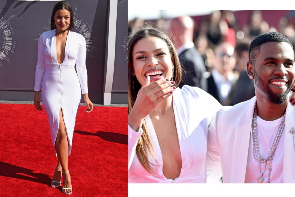 THE MEH: Jordin Sparks' makeup is a definite yes - that lipstick is super stunning on her - but we can't help but find the dress a bit utility looking in its tightness and with its ugly zips. Like it's some kind of body suit that she's required to wear to hold her organs in place or the like. Thoughts?