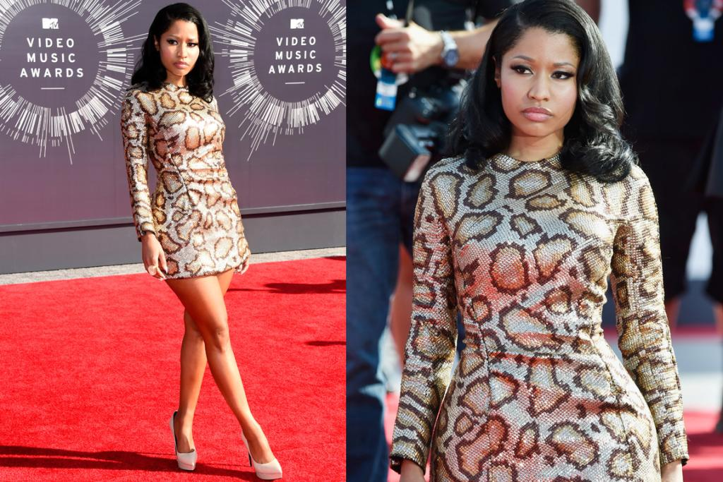 THE GREAT: Now this is how you dress for the VMA red carpet - Nicki Minaj is all kinds of fierce in this perfectly tailored, long-sleeved snake print mini. Nude pumps, classic curls and just a touch of finger bling help ground the look, love it.