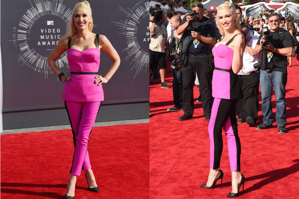 THE GOOD: It's not exactly regulation VMAs garb, but there's no doubt Gwen Stefani looks good in this candy pink L.A.M.B Couture bustier and pant combo. The black accessories, single hair twist and statement lip are so very her, and she's owning it.