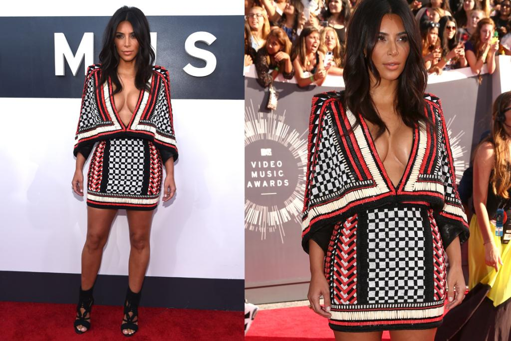 THE ALMOST: You know what, if she'd worn a cami or something, we'd actually love Kim Kardashian's Balmain look - it's edgy, it's different, and the tapestry is beautiful  ... but her serving of cleavage is too super-sized to work with those strong shoulders. Dial it back a touch Kimmy.