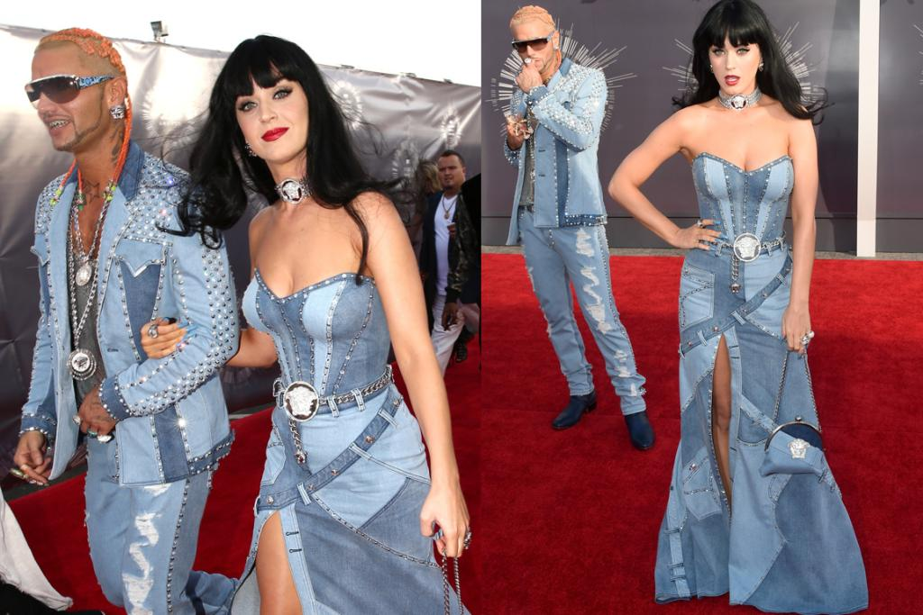 THE TERRIBLE BUT AMAZING: Here Katy Perry and Riff Raff riff on the outfits Justin Timberlake and Britney Spears wore to the 2001 AMAs, and while they obviously look terrible in every single possible way, you've got to love them for paying homage so perfectly to the former Prince and Princess of double, nay treble, denim.