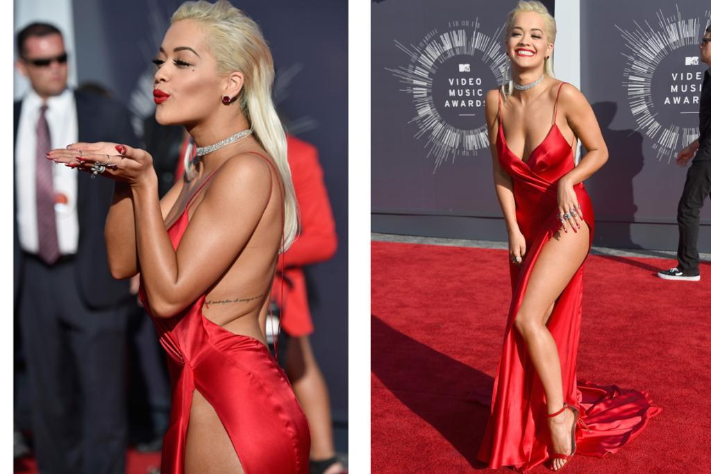 THE VA VA VOOM: Rita Ora definitely has a Marilyn vibe, and here she is channeling a nightie-wearing Monroe in a red dress that looks like it's being held together with one simple stitch. It's fabulous and is certainly sexy, but could definitely do with slightly less of a slit (if the slit goes above your belly button then you're veering away from skirt territory and into the realm of just flaps of material).