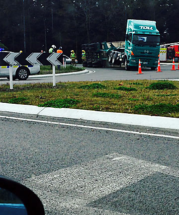 Truck crash on Anzac Dr