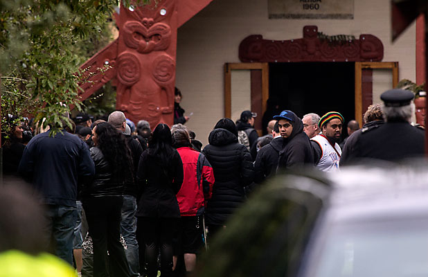 TANGI: Mourners attend the funeral of Black Power's South Island boss Ardie Beazley at Rehua Marae.