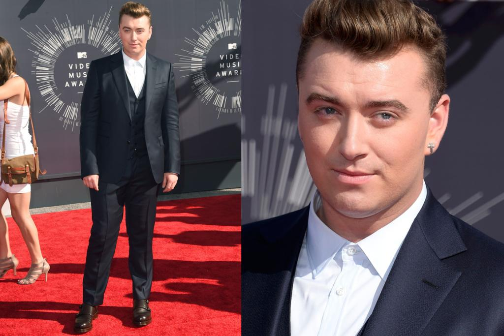 GOOD SUIT, BAD SHOES: Sam Smith's navy three-piece Gucci suit is a total classic ... but those clunky brown leather shoes were not the right footwear choice.