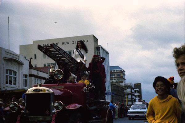 ALL BEAUTY: Hamilton woman Vicki Lee Wihongi (nee Hemi) was crowned Miss New Zealand 1980 and in the same year was part of the parade to celebrate Waikato's Ranfurly Shield victory over Taranaki. She's  pictured here in the parade as it travelled on Victoria St.
