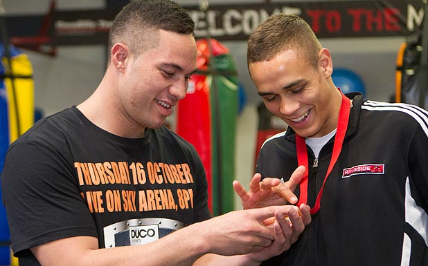 GOLDEN TEASE: Joseph Parker admitted his jealousy when David Nyika showed off his Commonwealth Games gold medal.