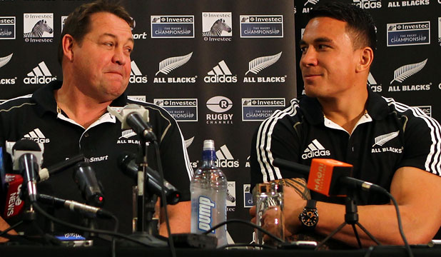 'ONE OF THE BEST': All Blacks coach Steve Hansen shares a moment in 2012 with favoured player Sonny Bill Williams.