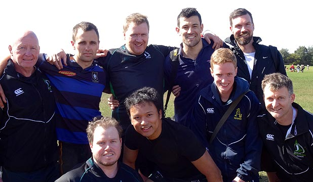 BIG WEEKEND: Members of New Zealand's only gay rugby team prepare for the Bingham Cup in Sydney this weekend. Back row, from left, Ray Pye (coach), Jeremy Brankin (captain), Dean Knight, Karl Wilshier, Sam Learmonth. Front row, from left, Mike Brady, Mauro Arzaga, Jack Cottrell, Todd Martin (assistant coach).