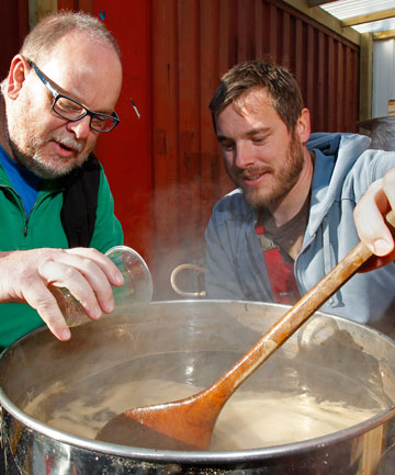 INDUSTRY STALWART: Marlborough Express beer columnist Geoff Griggs, left, brews beer with Soren Eriksson, of 8wired.
