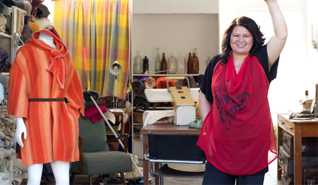 JEANINE CLARKIN: Customers bring her their blankets, or pick one from her stash, and she fashions them into garments.