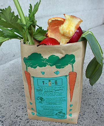 EASY AS: An example of the bag which people need to fill with compost.