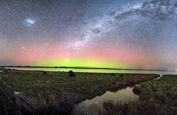 BRILLIANT: Kaituna Valley resident Matt Searles put together this image of the Aurora Australis and the Milky Way over Lake Ellesmere on Wednesday night.
