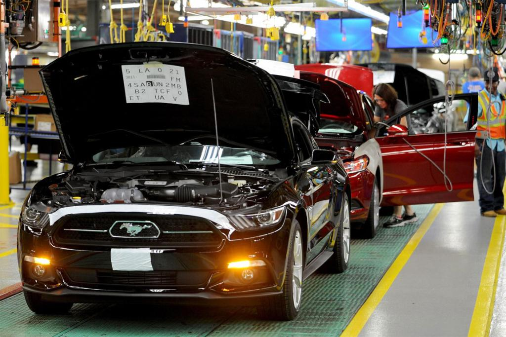 Ford's 2015 Mustang on the assembly line in Flat Rock, Michigan.