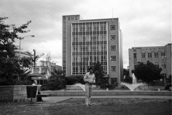 Central Hamilton: A photo taken in Garden Place, circa 1975, with BNZ and Central Post Office buildings in the background.