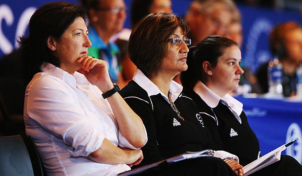 PLENTY TO PONDER: Silver Ferns assistant coach Vicki Wilson, left, head coach Waimarama Taumaunu and performance analyst Bobby Wilcox have work to do.