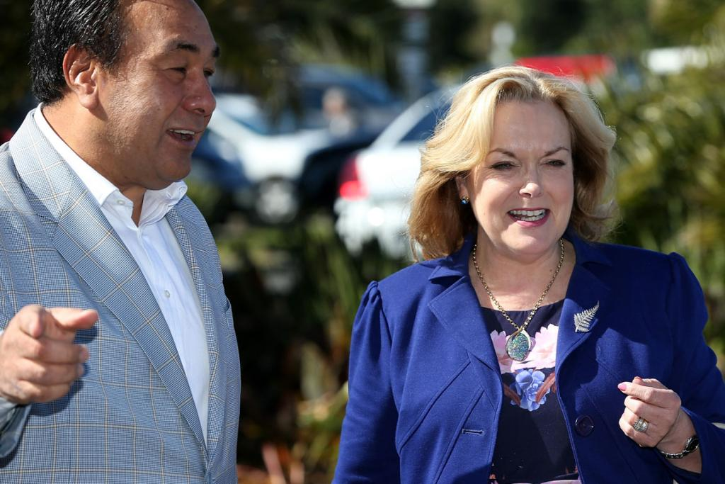 TOGETHER: Judith Collins and her husband, David Wong Tung, arrive at the National Party's campaign launch.