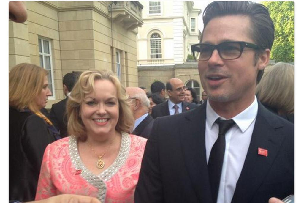 "SOCIAL MEDIA: Judith Collins captioned this picture ""Nice to meet Mr Pitt"" on Twitter, though it is not clear he was aware of her presence."