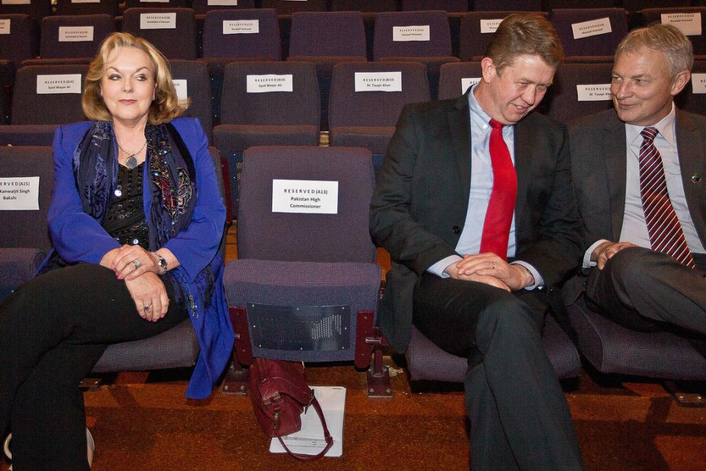 EMBATTLED: Minister of Justice Judith Collins at a celebration for Pakistan's independence day seated alongside Labour leader David Cunliffe and Phil Goff.