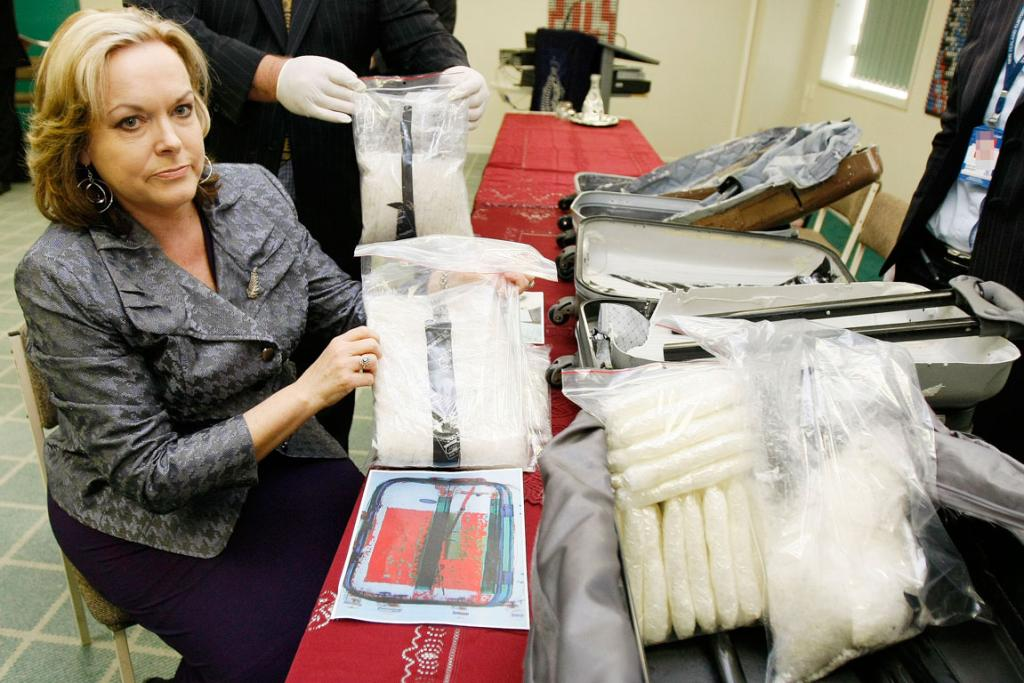 POLICE MINISTER: Judith Collins with a $4 million methamphetamine bust in 2009.