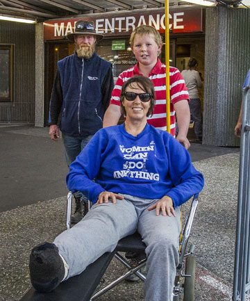 TRAPPED: Robyn Mathisen was pinned under a ute for several hours before her husband Robert, left, and son Isaac, 11, came to the rescue, but escaped with just damaged ligaments and a broken ankle.