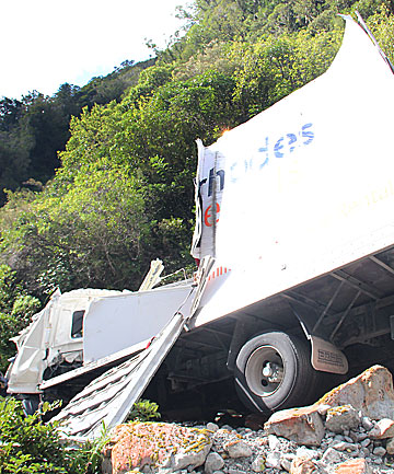 FATAL ACCIDENT: The truck crashed off the road in the Otira Gorge in April 2012.