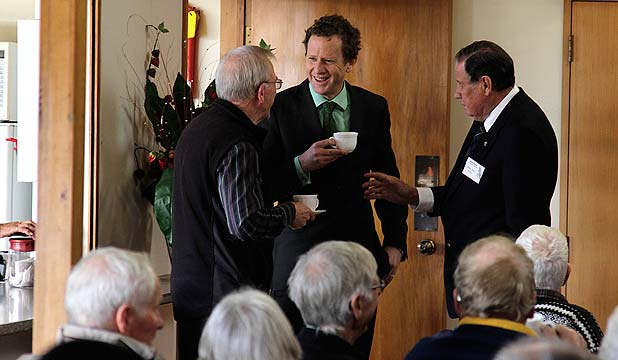 NICE CUPPA: Green Party co-leader Dr Russel Norman before addressing senior citizens in East Auckland.