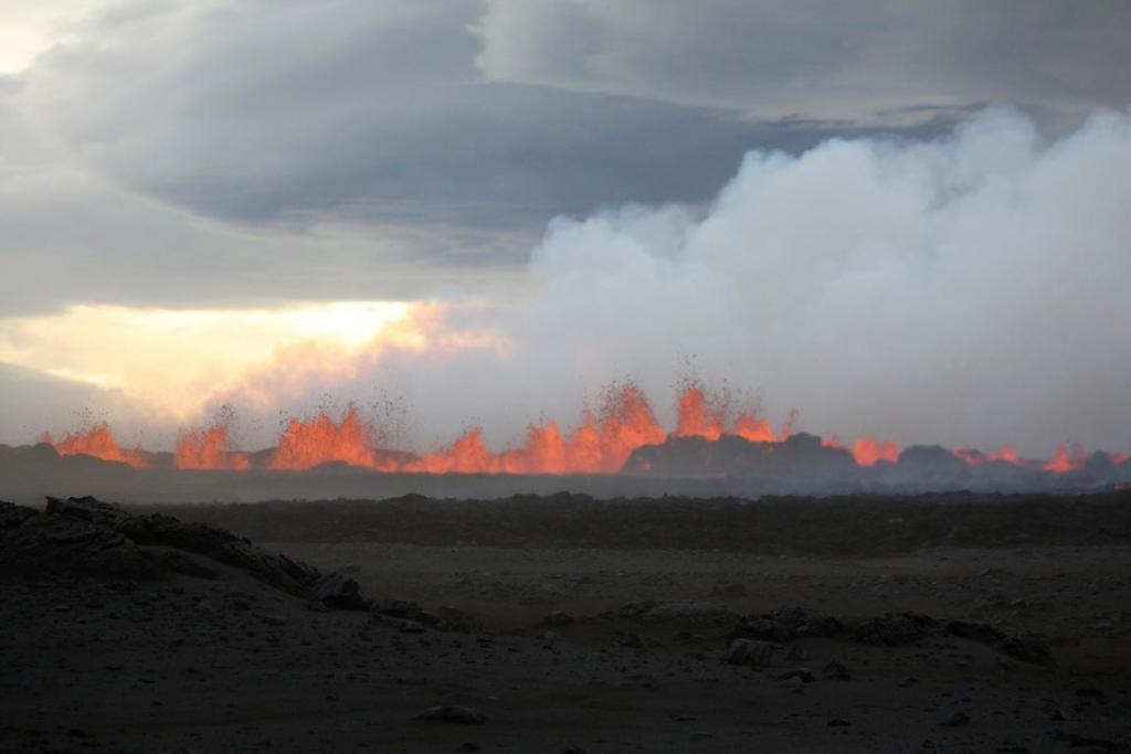 The lava flows on the the ground after the Bardabunga volcano erupted again on August 31, 2014. Scientists estimate the fissure to be at least 1.5 kilometres long and the lava is estimated to be six to eight metres thick and flowing at a rate of about 1000 cubic metres per second.