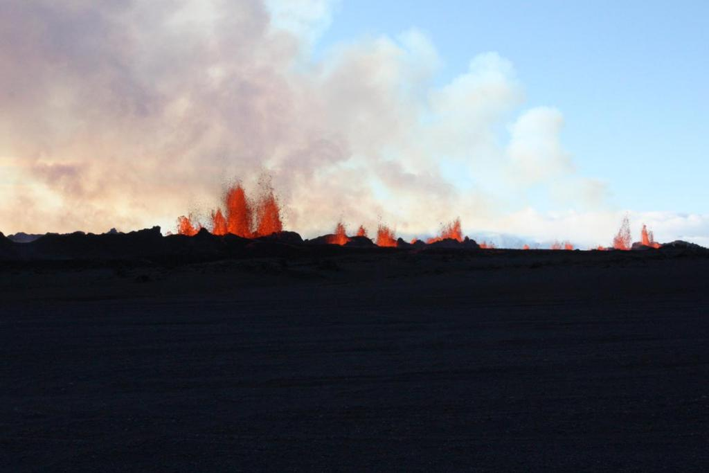 Lava fountains are pictured at the site of a fissure eruption near Iceland's Bardarbunga volcano on September 2.