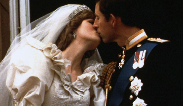 MARRIED: Diana and Charles kissed on the palace balcony after their wedding.
