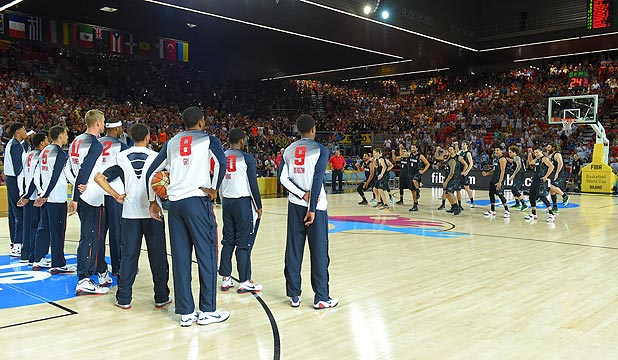 CHALLENGE ACCEPTED: The Tall Blacks peform the haka to the star-studded USA side ahead of their World Cup group clash.