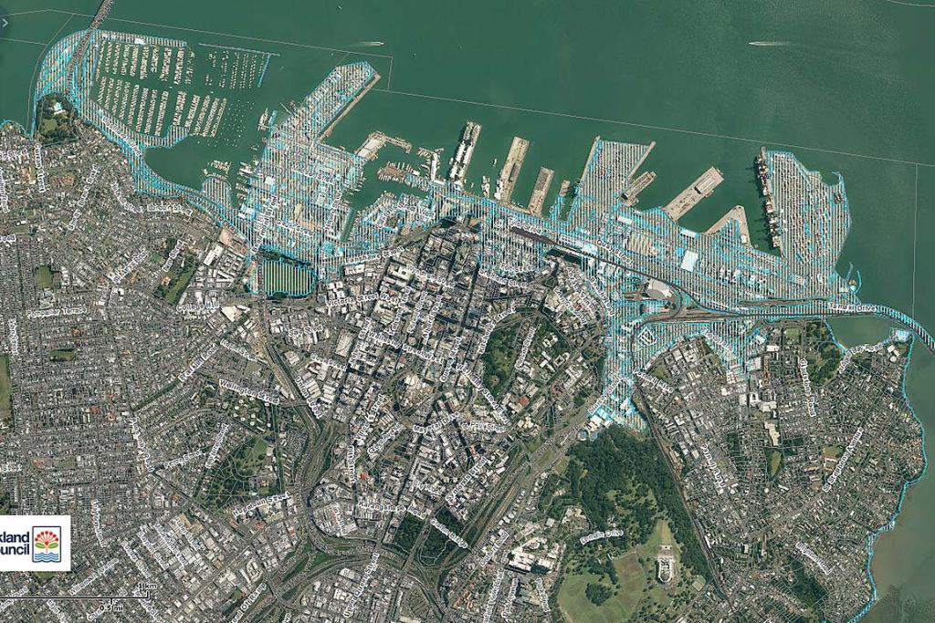 2M SEA LEVEL RISE: Ports of Auckland and the down town water front