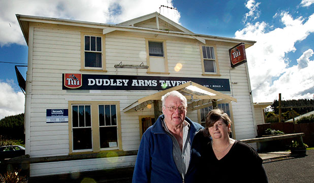 CLOSING TIME: Dudley Arms tavern in Mangatainoka. Owners, Dave Woolland and Vicki Spicer.