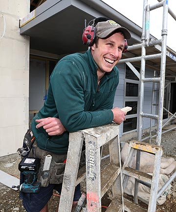 DAY JOB: Stags player Craig Smith spent some time back on the building site yesterday in Invercargill where he works as a builder outside of the rugby season.