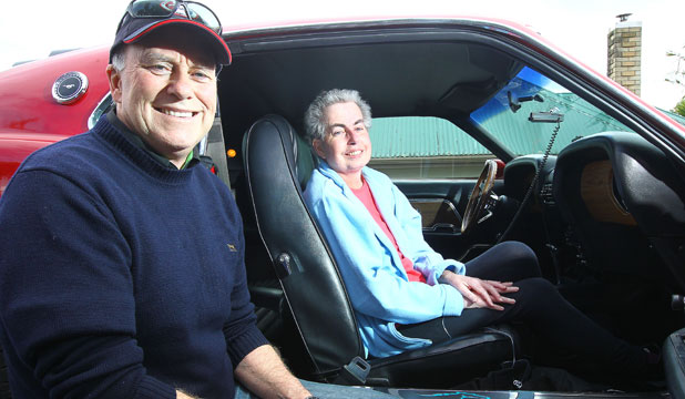 RIDE OF HER LIFE: Bob Hastie takes Wendy Pettifer for a ride in a Ford Mustang.