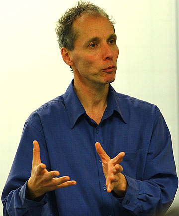 NICKY HAGER: Speaking to journalism students at Wintec.