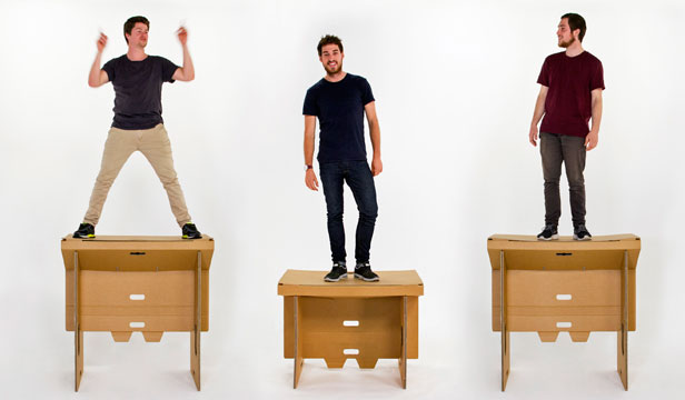 PLATFORM FOR INNOVATION: Refold Cardboard standing desk inventors Matt Innes, Fraser Calloway and Oliver Ward have found plenty of people willing to sign on to their idea.