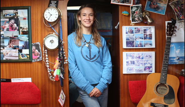 HOME AWAY FROM HOME: Laura Dekker in the galley of Guppy, based in Whangarei.
