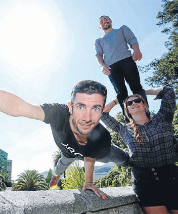 Paul O'Keeffe, left, Skip Walker-Milne and Rowan Heydon-White from the Australia circus group Circa at the Church Steps. The  performed as Beyond as part of the Nelson Arts Festival.