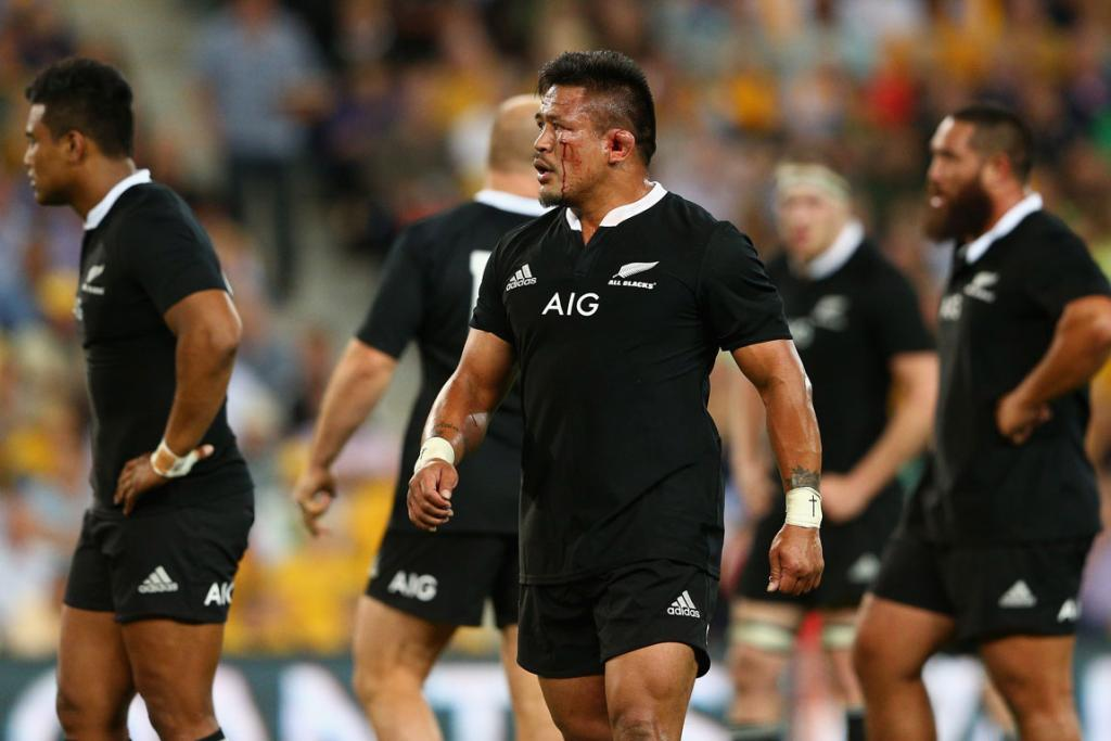 85536062404 2014: All Blacks hooker Keven Mealamu sizes the Wallabies up in their test  at Suncorp