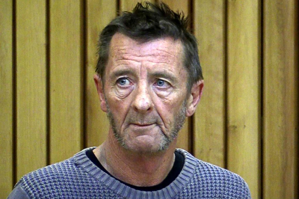 AC/DC drummer Phil Rudd in the dock at court.