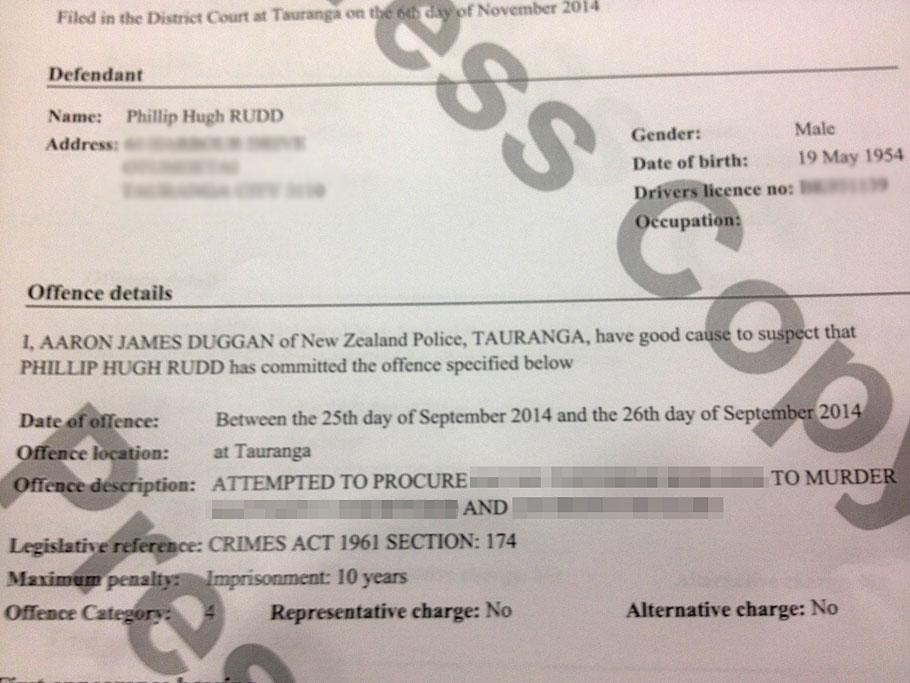 The court charge sheet of AC/DC drummer Phil Rudd.