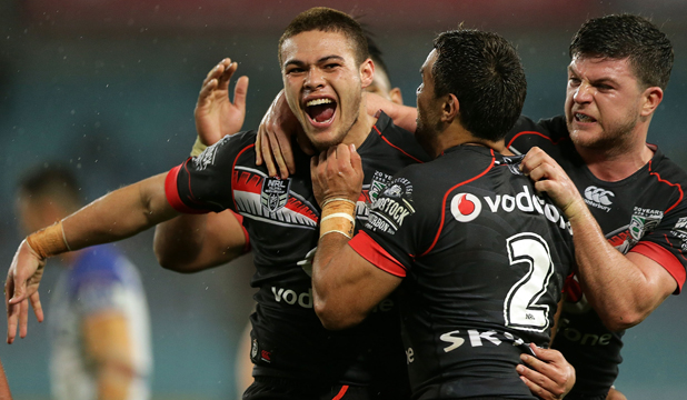 Tuimoala Lolohea celebrates scoring for Warriors